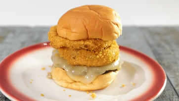 Monterey Jack Burger with Ranch Onion Rings