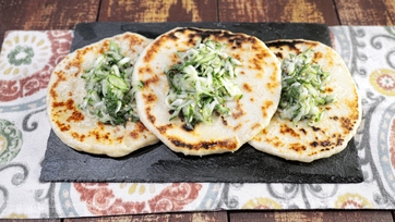 Skillet Naan Bread with Cucumber Relish