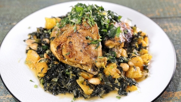 Braised Chicken Thighs with Kale and Butternut Squash