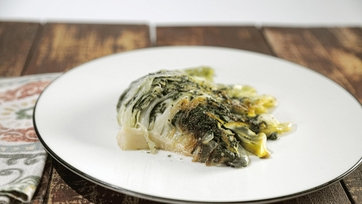 Braised Cabbage with Kale Pesto