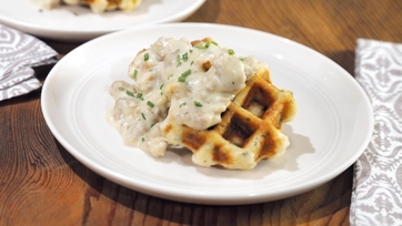 Biscuit Waffles with Sausage Gravy