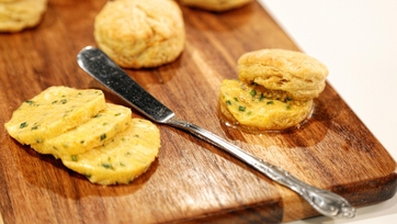 Flaky Biscuits with Cayenne Cheddar Chive Butter