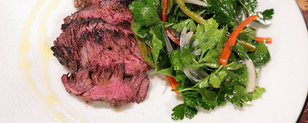 Grilled Hanger Steak with Pickled Chili Salad Recipe by Michael Symon ...