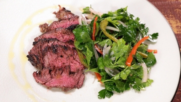 Grilled Hanger Steak with Pickled Chili Salad