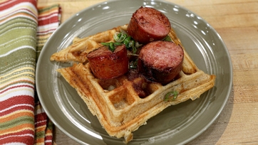 Savory Waffles with Smoked Kielbasa and Honey Butter