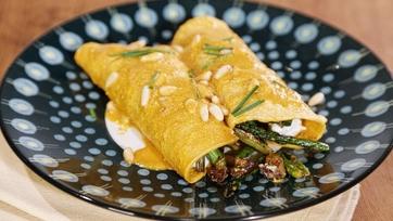 Asparagus, Mushroom & Goat Cheese Enchiladas with Pine Nut Mole Sauce