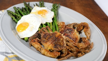 Asparagus with Sunny-Side-Up Eggs & Pan Fried Soft Shell Crabs