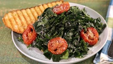 Kale Caesar Salad with Grilled Parmesan Crostini