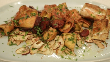 Smoked Fish Tortelloni with Porcini Barolo Sauce