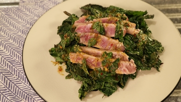 Seared Tuna with Wilted Greens