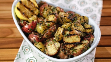 Simple Grilled Potato Salad with Grilled Lemon Vinaigrette