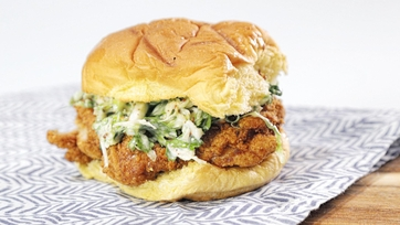 Fried Chicken Sandwich with Brussels Sprouts Slaw