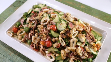 Grilled Calamari Chopped Salad with Chickpeas, Olives & Salami