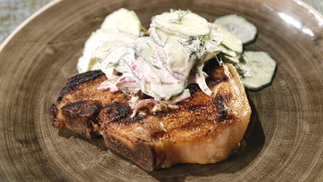 Pork T-Bones with Cucumber Salad