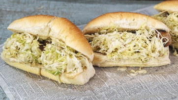 Bratwurst and Sauerkraut on a Hard Roll