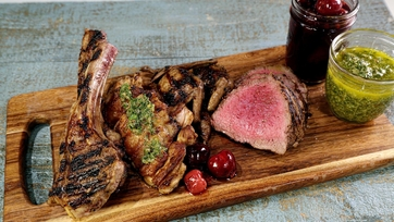 Father\'s Day Mixed Grill with Pickled Cherries & Salsa Verde