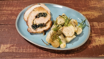 Stuffed Pork Rack with Roasted Turnips