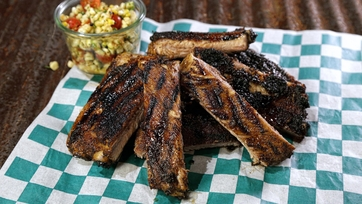 Pork Spareribs with Grilled Corn Salad