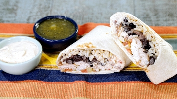 Chicken Burritos with Chile Verde & Spicy Black Beans