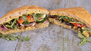 Grilled Vegetable Focaccia Sandwich with Bomba Aioli