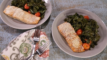 Balsamic Salmon and Kale Sheet Pan Dinner