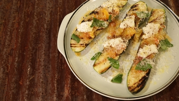 Grilled Zucchini with Fresh Tomato Sauce