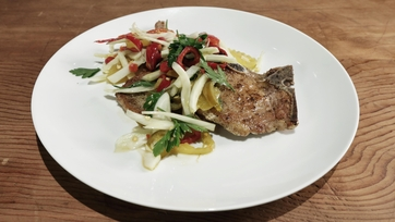 Pork Chops with Spicy Pickled Peppers