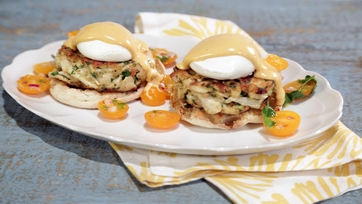 Crab Cake Eggs Benedict with Chipotle Hollandaise