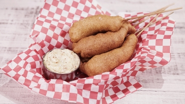 Shrimp Corndogs with Mustard Aioli