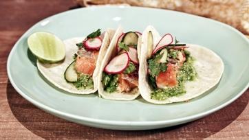 Charred Salmon Tacos