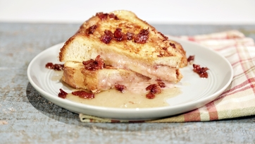 Stuffed French Toast with Bacon Bourbon Maple Syrup