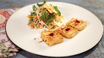 Fried Tofu with Jicama Slaw