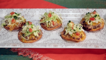 Black-Eyed Pea and Cheddar Tostada