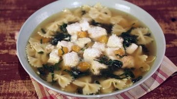 Lemon Chicken Soup with Kale and Butternut Squash