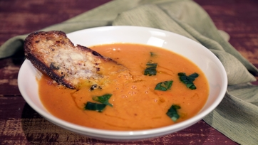 Roasted Tomato Soup with Giant Cheesy Herb Croutons