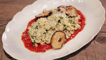 Cauliflower Risotto With Shiitakes & Piquillo Peppers