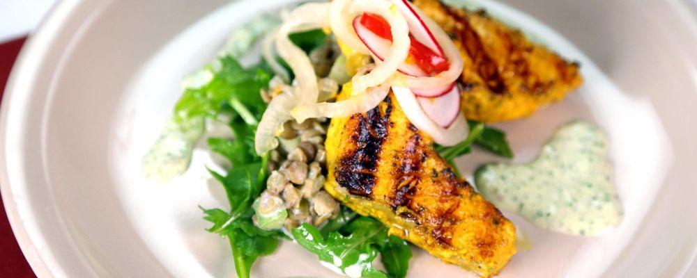 Tandoori Salmon Salad with Pickled Cippolini Onions, Cucumber Raita, and Marinated Lentils