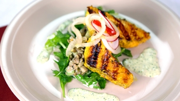 Tandoori Salmon Salad with Pickled Cippolini Onions, Cucumber Raita, and Marinated Lentils
