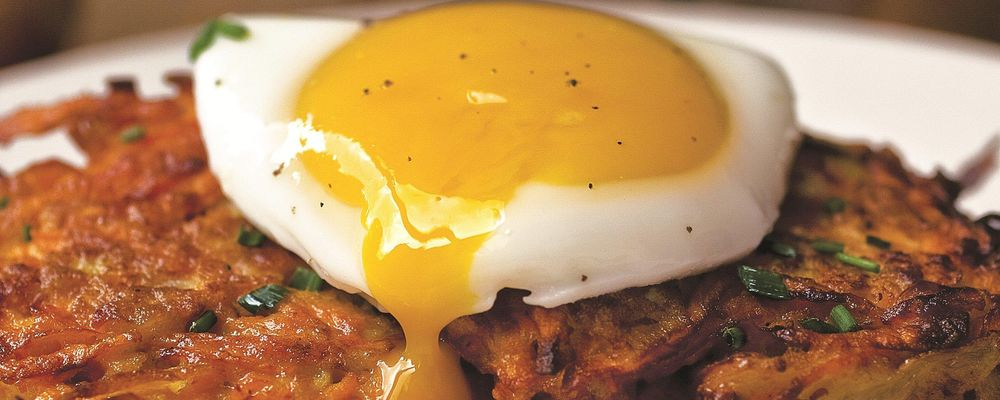 Poached Eggs with Sweet Potato Pancakes