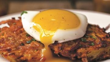 Poached Eggs with Sweet Potato Pancakes