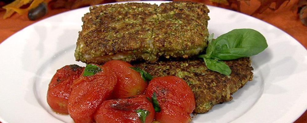 Daphne Oz\'s Pistachio Crusted Halibut with Roasted Tomato and Basil