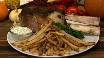Michael Symon\'s Cowboy Ribeye with Marrow-naise and Fries