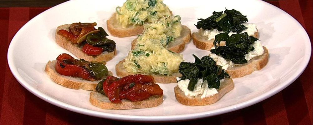 Mario Batali\'s Spaghetti Squash with Soft Herbs and Robiola Crostini