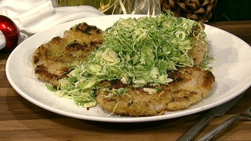 Michael Symon\'s Double Cut Pork Chops with Shaved Brussels Sprout Salad