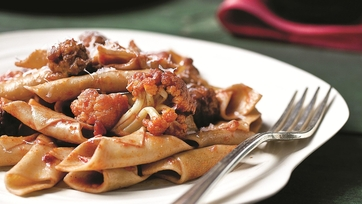 Mario Batali\'s Wine-Stained Gemelli With Sausage Meatballs and Cauliflower