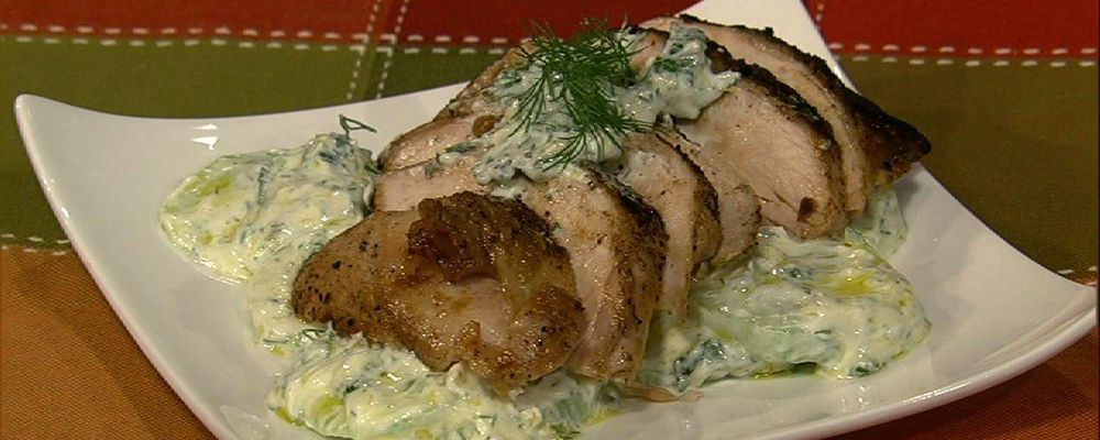 Michael Symon\'s Pan Roasted Chicken Breasts with Yogurt Cucumber Salad