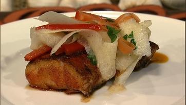 Cajun Cod with Shaved Vegetable Salad