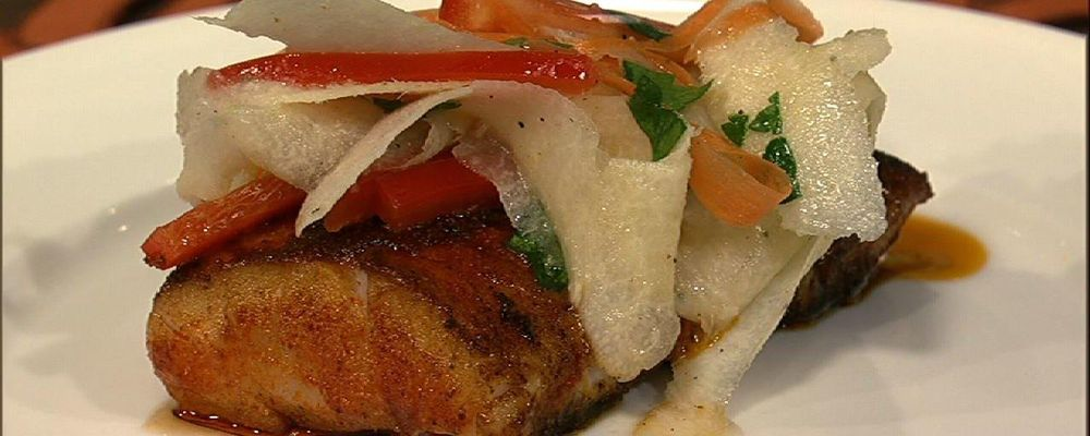 Cajun Cod with Shaved Vegetable Salad