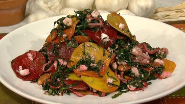 Kale Salad with Shaved Beets, Feta and Toasted Almonds