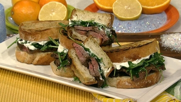 Michael Symon\'s Flank Steak with Grilled Potatoes and Arugula
